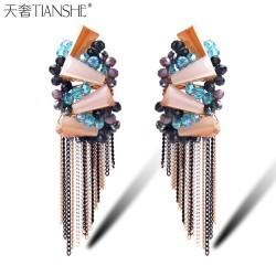 天奢TIANSHE 纯手工串珠 波西米亚长条水晶耳坠 欧美时尚流苏耳环2015075