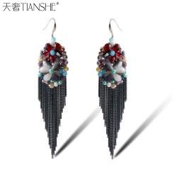 天奢TIANSHE 欧美夸张多样水晶耳饰  长款气质流苏耳环销售2015218
