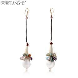 天奢TIANSHE 韩版时尚高端品牌 多式水晶 珍珠手工耳环 耳饰2015235