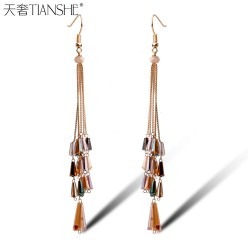 天奢TIANSHE 韩版流行纯手工长条水晶串珠耳环 高端长款流苏耳饰批发2015242