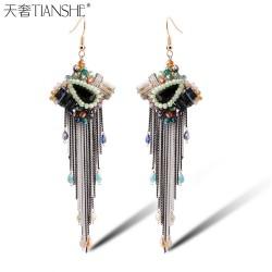 天奢TIANSHE   波西米亚纯手工混合彩色水晶耳环 夸张流苏水晶耳饰品批发2015260