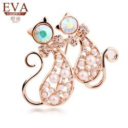 EVA颐娲 高端胸针品牌时尚韩版镶钻可爱小猫胸花新款领针批发6177