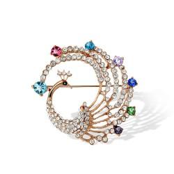 人气爆款 韩国时尚奢华水钻珍珠孔雀丝巾扣胸针 厂家直销2941