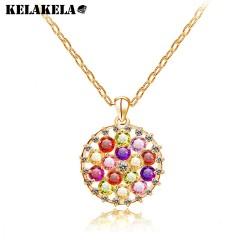 KELAKELA 欧美大牌 七彩色锆石项链 圆形吊坠 水晶宝石短链2014801