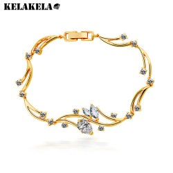 KELAKELA 韩国进口高端复古大牌4A锆石微镶钻满钻水晶手链 微信爆款 K159