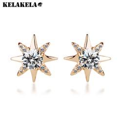 KELAKELA 简约百搭微镶八角星形锆石耳钉电镀白金防过敏耳饰品混批批发K161