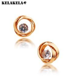 KELAKELA 2018年新款韩版欧美流行超美锆石耳钉耳环真金保色女K168
