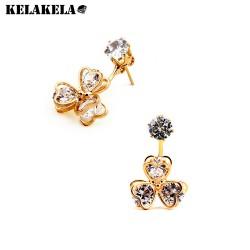 KELAKELA 新款热卖 时尚百搭三叶草花朵锆石镶钻耳环女 厂家直销K169