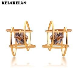 KELAKELA  韩国新款耳饰 时尚优雅气质镂空锆石耳环耳钉女一件代发K175