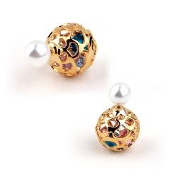 MISAKI米莎崎 韩版时尚玫瑰花镂空两用珍珠锆石耳钉国际大牌范耳钉批发M016