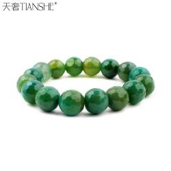 天奢TIANSHE   高档首饰品牌经典新品绿色水晶天然绿玛瑙水晶手链批发2014617