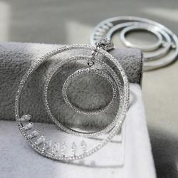 KELAKELA 欧美个性风范 微镶精致锆石闪耀三圈炫目耳钉 环环相扣 K191