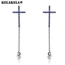 KELAKELA 速卖通货源 精致微镶十字架 流苏字母D耳钉 K183