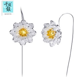 千族银 微信热卖耳钉 电镀真白金花朵耳环 明星气质银饰耳坠 Q018