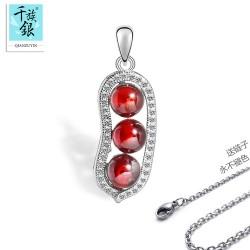 千族银 时尚韩版微镶锆石项链 天然石榴石 豌豆水晶项链 Q044
