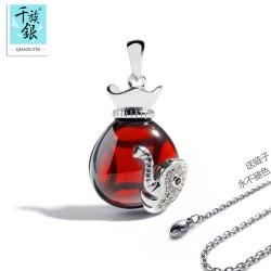 千族银 时尚微镶锆石首饰 天然石榴石水晶瓶象鼻项链 吊坠 礼物Q052