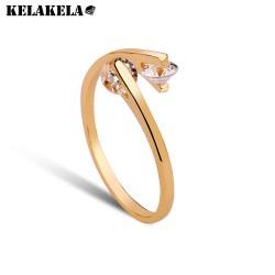 KELAKELA 高档手饰 情侣对戒结婚 姐妹创意 真金电镀 微镶AAA锆石戒指 双色K198