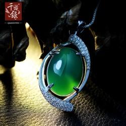 千族银珠宝 时尚高端品牌 S925纯银项链 微镶锆石 绿玉髓送女友Q080