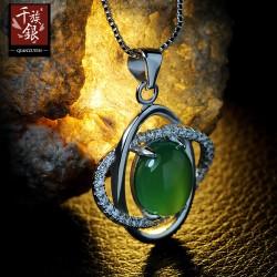 千族银珠宝 高档品牌 S925纯银项链 天然绿玉髓锁骨链送女友Q103