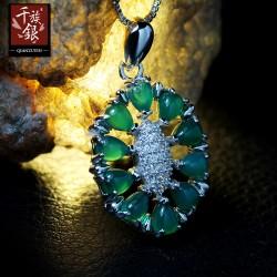 预存款!千族银珠宝 S925纯银项链 微镶锆石 天然绿玉髓玛瑙水晶吊坠Q104