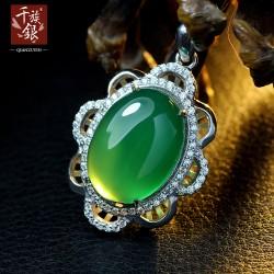 千族银珠宝 高端品牌 S925纯银项链 微镶锆石 绿玉髓送女友礼物Q092