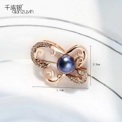千族银珠宝 时尚高端品牌 天然淡水珍珠项链 镶锆石吊坠送礼物Q130