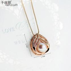千族银珠宝 天然淡水珍珠项链 高档锆石短款锁骨链吊坠送女友Q129