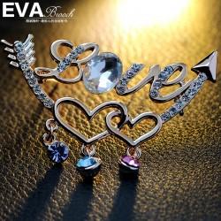 EVA颐娲 高端胸针品牌 一箭穿心 镶钻 LOVE  送女友礼物 6343-85