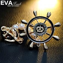 EVA颐娲 高端胸针品牌  船锚 海盗船舵  胸花 速卖通货源 6342-86