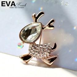 EVA颐娲 高端胸针品牌   满钻小鹿百搭胸针   奥地利水晶 圣诞礼物6371