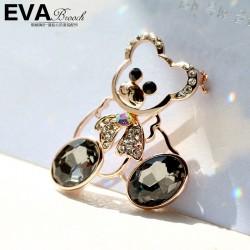 EVA颐娲 高端胸针品牌 满钻蝴蝶结芭比熊 奥地利水晶 6365