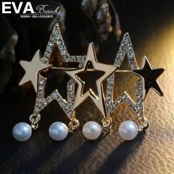 EVA颐娲 高端胸针品牌 光面满钻五角星 高档贝珠   速卖通货源 6380