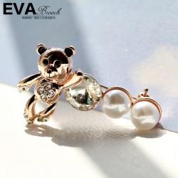 EVA颐娲 高端胸针品牌 维尼熊 高档贝珠 镶钻 可爱 6376