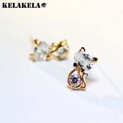 KELAKELA  时尚可爱锆石猫咪耳钉  外贸货源 送女友礼物 K204