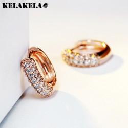 KELAKELA 微镶锆石 时尚圆形耳钉 多色可选 生日礼物 K205