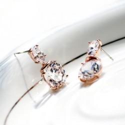 KELAKELA 时尚高档蛋形锆石 耳钉 精致八心八箭   礼物 女 K203