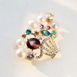 EVA颐娲 高端胸针品牌 镶钻 水晶 花篮 珍珠 锆石 6389