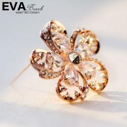 EVA颐娲 高端胸针品牌 锆石镶钻优雅五叶花 花蕾 外贸货源 6411