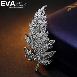 EVA高档胸花 气质满钻树叶羽毛百搭胸针 优雅别致 西服配饰 6511