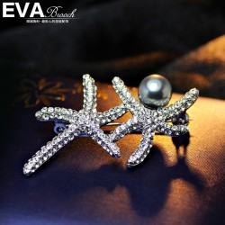 EVA颐娲高档胸针 麻麻同款 海星珍珠胸花 精致彭锆石 6490