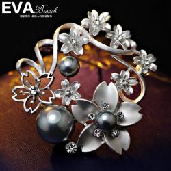 EVA高档胸花 气质哑银质感寒梅珍珠胸针 花卉别针 西服配饰 6521