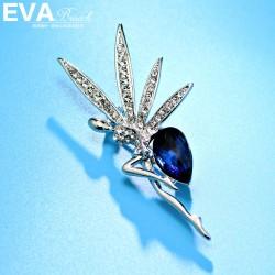 EVA高档胸针品牌 气质高档奥地利水晶跳舞女孩胸花 芭蕾 送女友礼物 6530