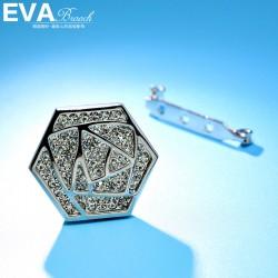 EVA颐娲高端胸针 气质百搭镶钻六边形别致别针女 6540