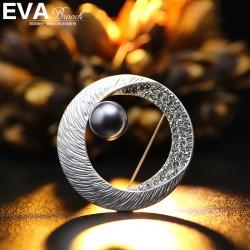EVA颐娲高端胸针 气质百搭哑银圆形 镶钻 珍珠胸针女别针 6553