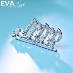 EVA颐娲高端胸针 气质百搭微镶锆石 英文字母女别针6558