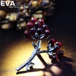 EVA颐娲高端胸针 手工女天然玉石红刚玉复古宫廷水晶 捧花别针 6586