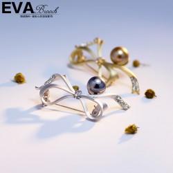 EVA颐娲高端胸针 气质百搭哑银细蝴蝶结珍珠胸花 别针 领针 6649