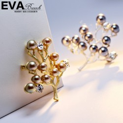 EVA颐娲高端胸针 气质百搭哑银珍珠果实树胸针 别针领针 6661