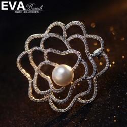 EVA颐娲高档胸针 气质玫瑰花蔷薇珍珠胸针 胸花 微镶锆石领针 6680