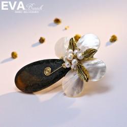 EVA颐娲高档胸针 天然贝壳玉石母贝珍珠复古风胸花 送妈妈礼物 6692